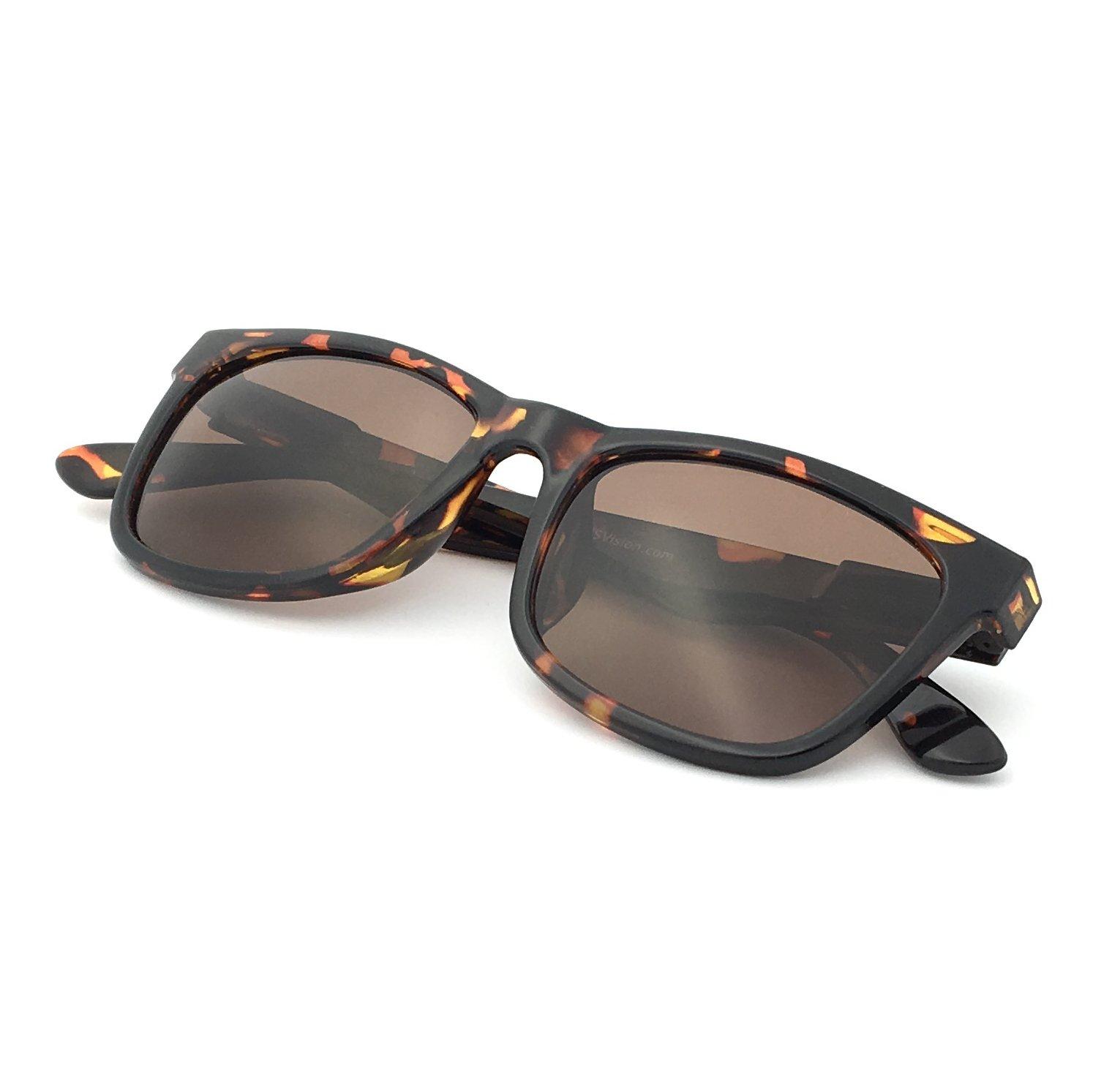 J+S Classic 80's Wayfarer Mark II Sunglasses, Polarized, 100% UV protection, Spring Hinged (Tortoise Frame/Brown Lens)