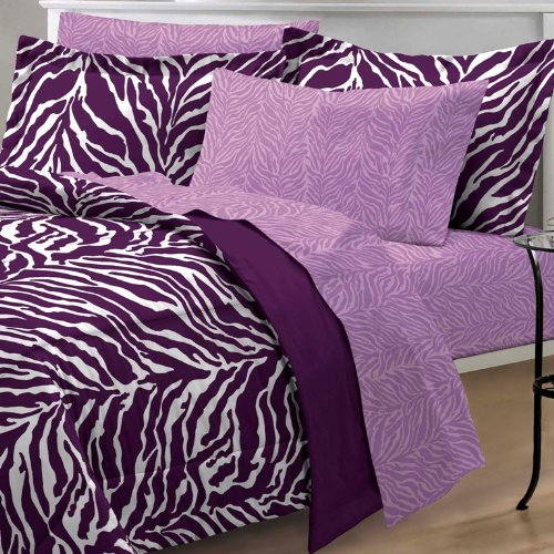 My Room Zebra Purple Ultra Soft Microfiber Comforter Sheet Set, Multi-Colored, Queen by My Room