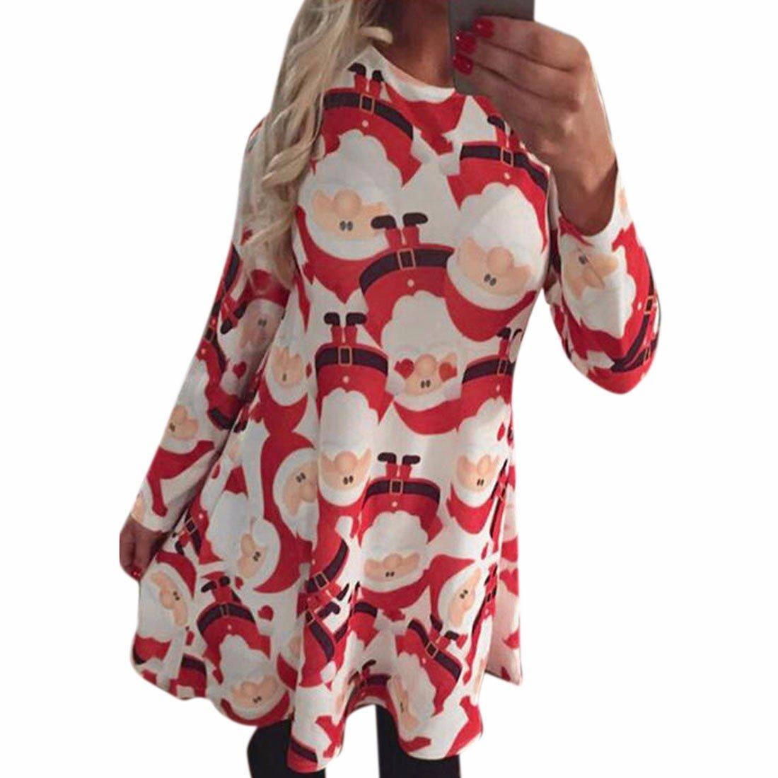 Christmas Dresses Women Santa Print Retro Swing Dress Xmas Long Sleeve Dresses 3012S3778