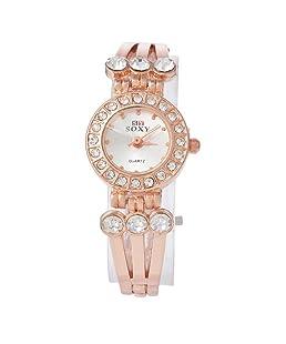 Funique Women Rhinestone Dial Quartz Wrist Watch Rose Gold Color Stainess Steel Strap 18cm