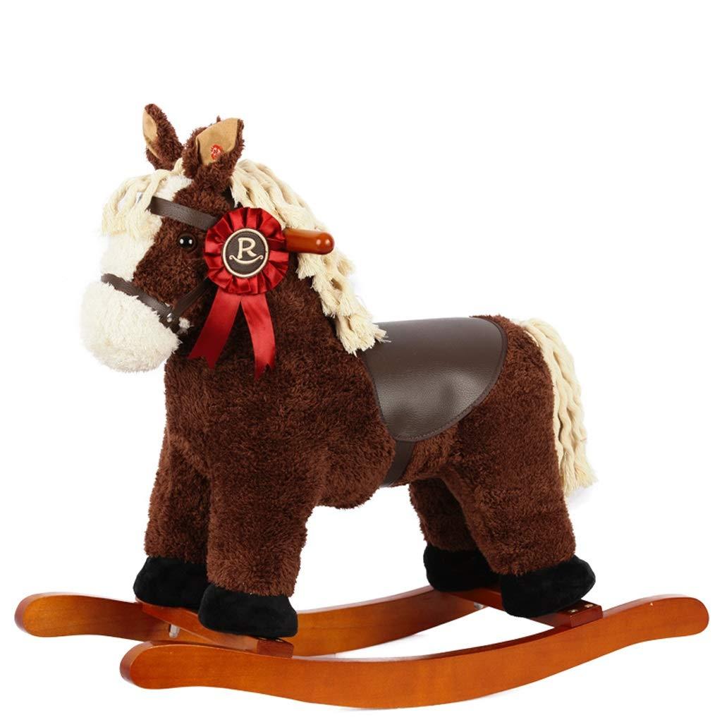 木馬ロッキング シェイクベビー子供の木馬ロッキングホースソリッドウッド音楽赤ちゃんおもちゃ誕生日ギフトリアルな形の負荷50KG 1-6歳   B07H2QGD3H