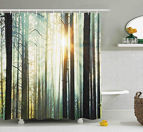 [Nature Decor Shower Curtain Fairy Foggy Forest Mist in the Woods Enchanted Wilderness with Sunbeams Image Fabric Bathroom Decor Set with Hooks Brown] (Wood Fairy Costumes)
