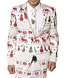 Mens Slim Fit Fancy Dress Novelty Christmas Suit Costume (L, White Star)