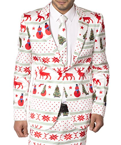 42' Star (Mens Slim Fit Fancy Dress Novelty Christmas Suit Costume (L, White Star))