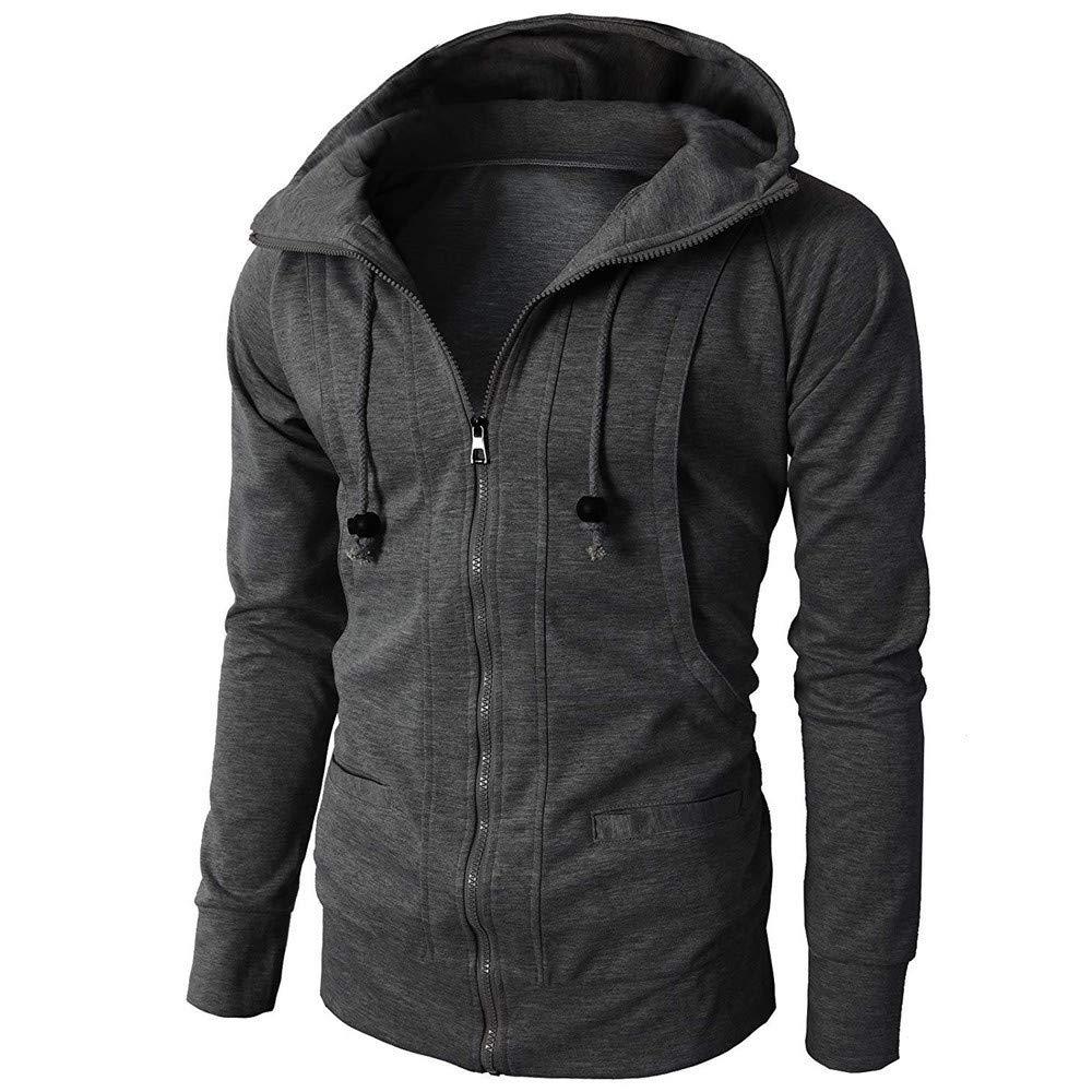 BaZhaHei Fashion Mens Autumn Winter Coat Long Sleeve Sport Tops Zipper Hoodie Pullover Blouse Tops Mens Casual Hooded Fleece Sports Sweatshirt with Pockets