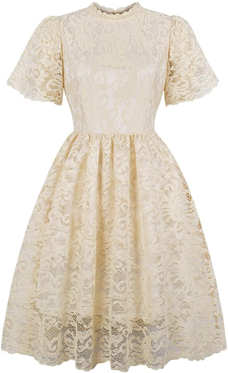Women Vintage Princess Floral Lace Cocktail O-Neck Party Aline Swing Dress Palarn Fashion Dress /& Tops