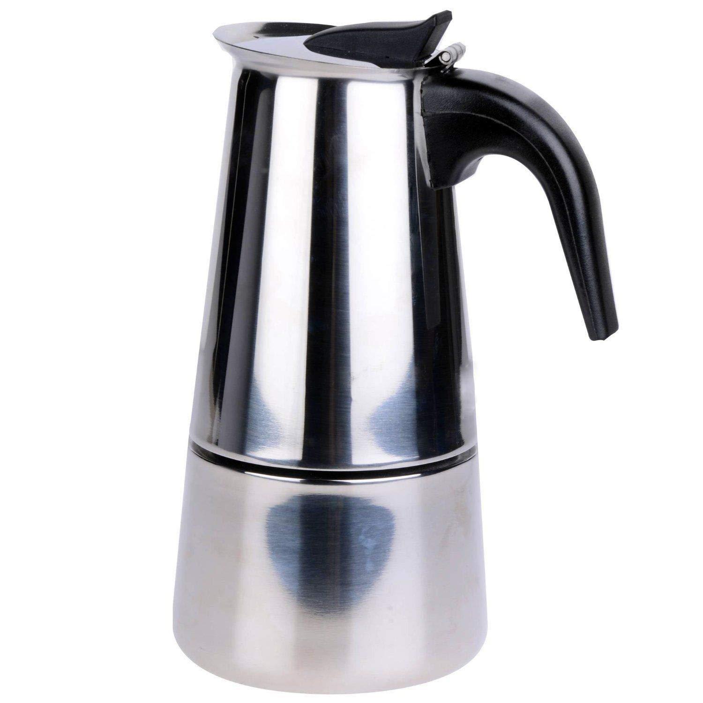 Voche/® Cafetera italiana  de acero inoxidable estilo Milan con sistema de filtro y con capacidad para hasta 6 tazas para fogones de cocina