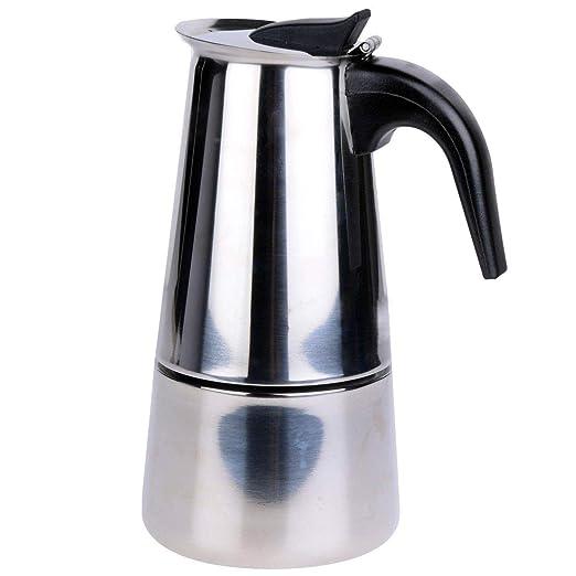 Voche® - Cafetera italiana de acero inoxidable estilo Milan con sistema de filtro y con capacidad para hasta 6 tazas para fogones de cocina