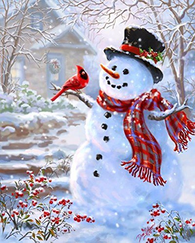 - 5D DIY Diamond Painting kit Rhinestone Embroidery Cross Stitch Arts Craft for Christmas Home Wall Decor,Snowman
