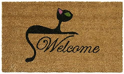 Rubber-Cal Kitty Cat Welcome Mat Cat Doormat, 18 x 30-Inch