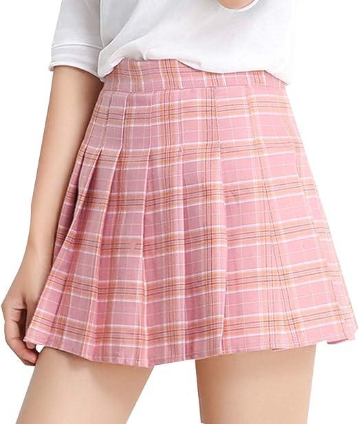 shangjunol Mujeres Rejilla Falda Plisada Cintura Alta Minifalda A ...
