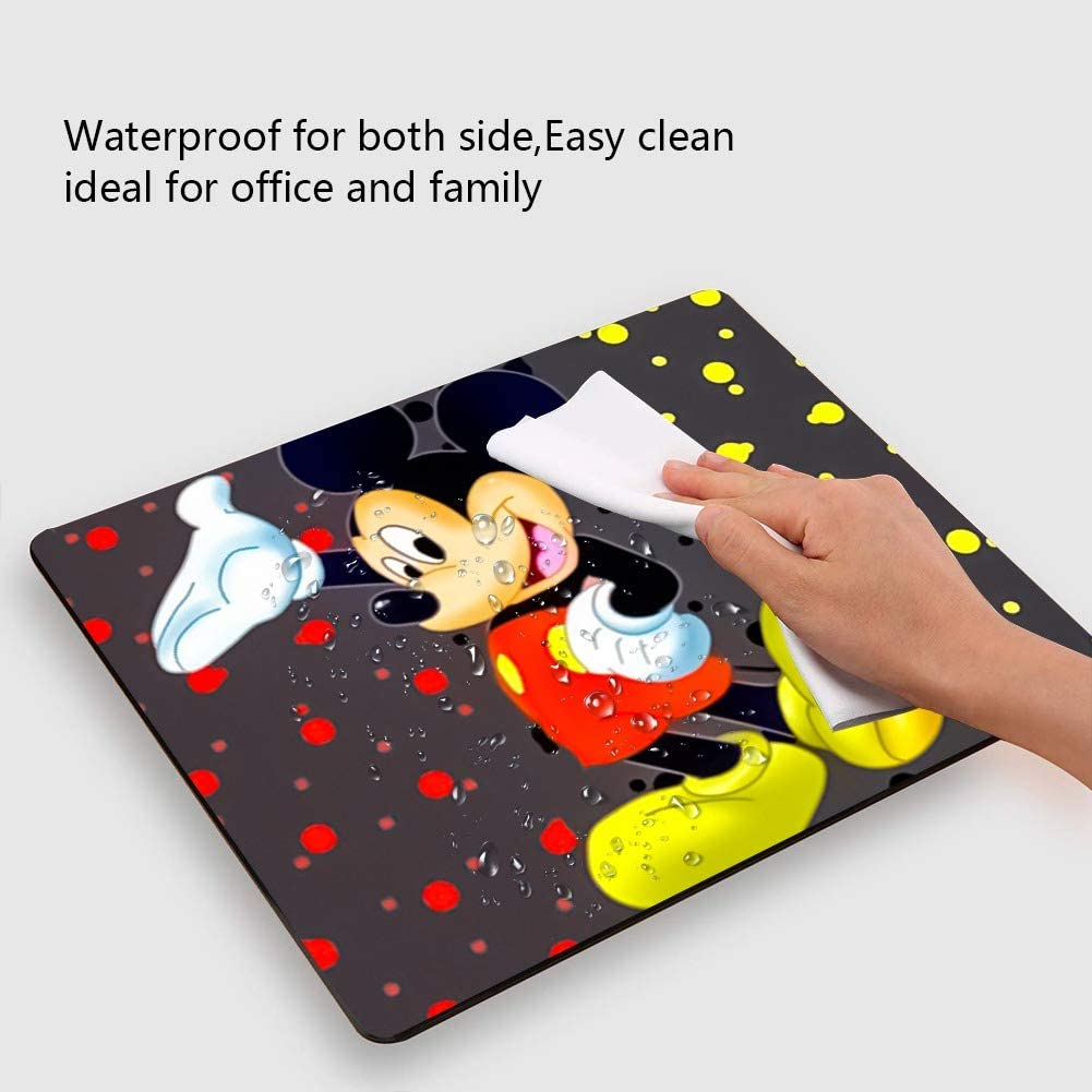 Home DISNEY COLLECTION Colored Dots Background Mickey Mouse Square Round Computer Gaming Mouse Pad Skidproof High Mouse Tracking for Office Gaming