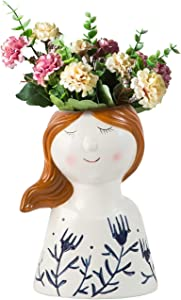 Jojuno Ceramic Flower Vase Special Lovely Girls Face Design, Decorative Modern Floral Vases for Home Decor Living Room Centerpieces Table and Office, Hand-Colorful Painted (Face-B)