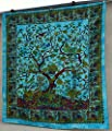 Popular Handicrafts Hippie Kaleidoscopic Tree Of Life Intricate Floral Design Indian Bedspread Tapestry