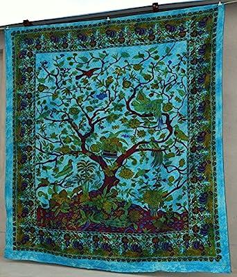 Popular Handicrafts Hippie Kaleidoscopic Tree Of Life Intricate Floral Design Indian Bedspread Tapestry