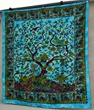 Popular Handicrafts Hippie Kaleidoscopic Tree Of Life Intricate Floral Design Indian Bedspread Tapestry 84x90 Inches,(215cmsx230cms) Turquoise