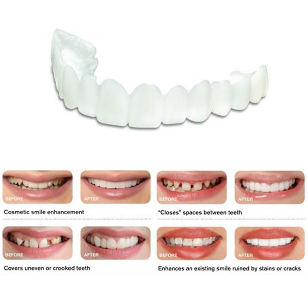 New Snap On Instant Smile Perfect Smile Comfort Fit Flex Fits Most Comfortable False Teeth Upper Fake Tooth Cover Leegoal