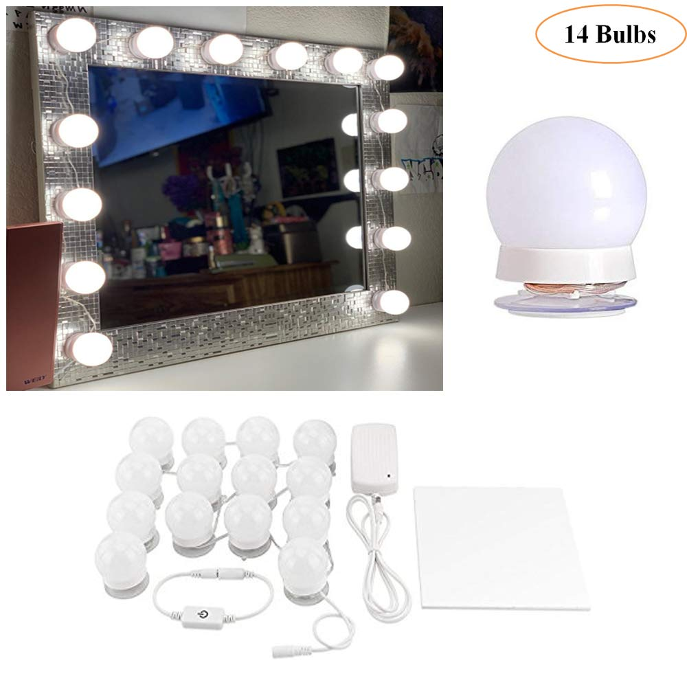 Hollywood Style LED Vanity Makeup Mirror Lights Kit White with 14 Dimmable Bulbs,Lighting Fixture Strip for Makeup Vanity Table Set in Dressing Room Mirror Not Included