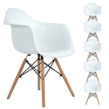 Ajie Retro - Stuhl, weiße Sitzschale mit Armlehnen auf massiven ...