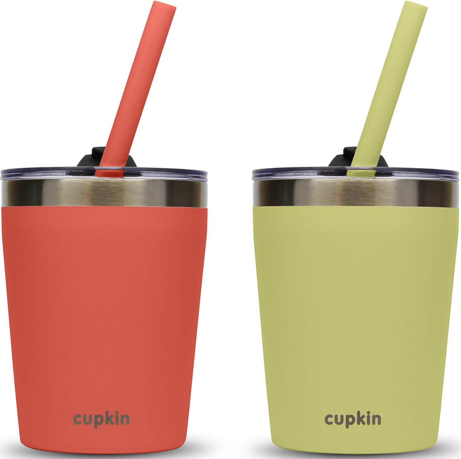 Stackable Stainless Steel Kids Cups for Toddlers (EASY to Clean) - Set of 2 Powder Coated Vacuum Insulated Tumblers, 2 Non BPA Lids & 2 Food Grade Reusable Silicone Straws (Coral + Yellow, 8.5 OZ)