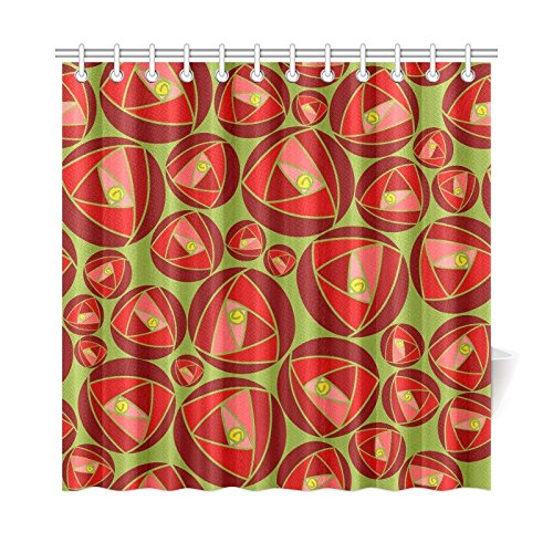 YPink Home Decor Bath Curtain Rose Abstract Rose Garden Charles Rennie Mackintosh Polyester Fabric Waterproof Shower Curtain for Bathroom, 72 X 72 Inch Shower Curtains Hooks Included