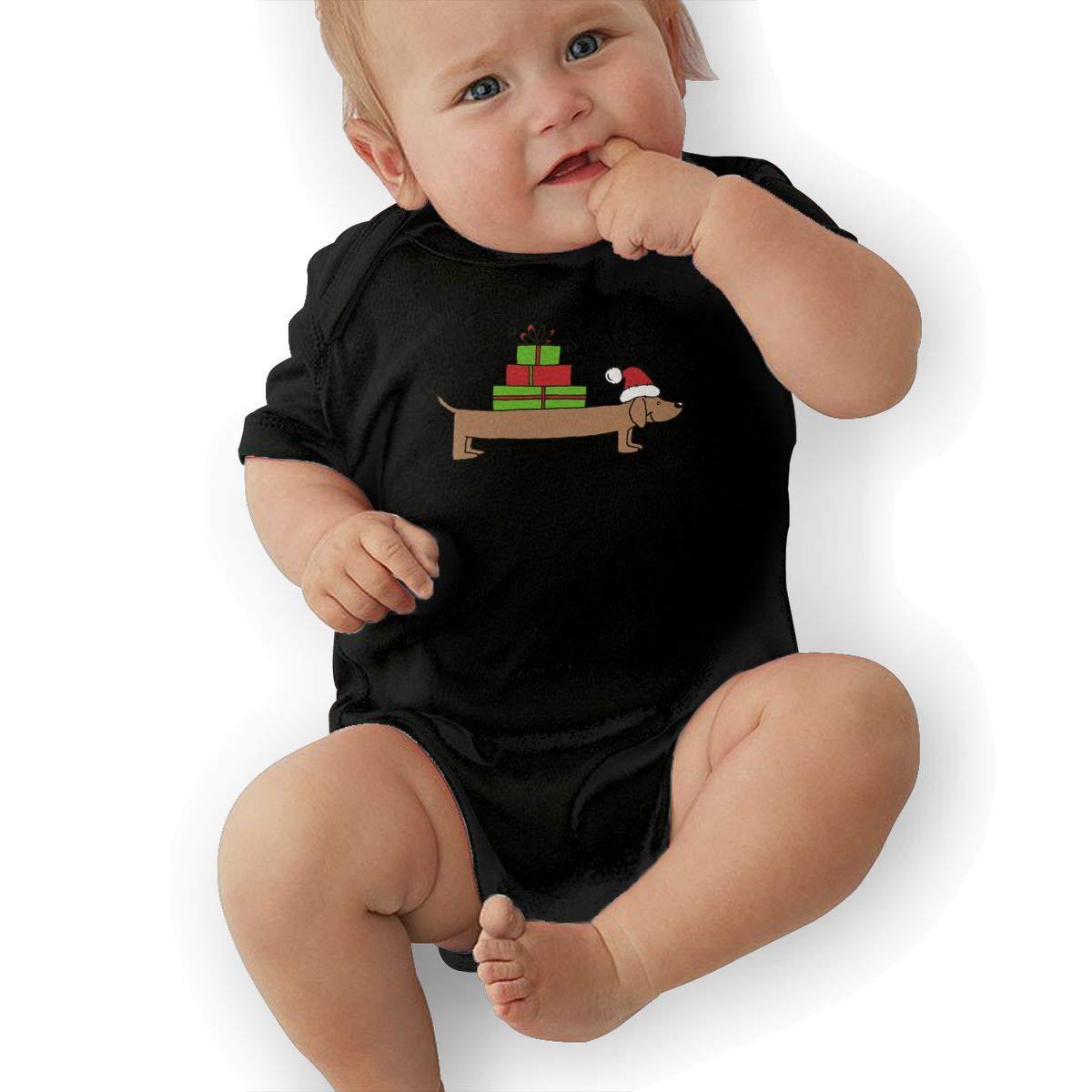 Mri-le2 Baby Boy Girl Short Sleeve Organic Bodysuit Christmas Dachshund Clipart Toddler Jumpsuit