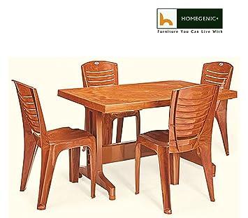 HOMEGENIC Plastic Rectangular Nilkamal Premium Dining Table Set, 1+4 Configuration (Pear Wood, NKDTULTIMA4025PRW)