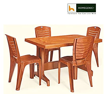 HOMEGENIC Plastic Rectangular Nilkamal Premium Dining Table Set 1 4 Configuration Pear Wood NKDTULTIMA4025PRW Amazonin Electronics