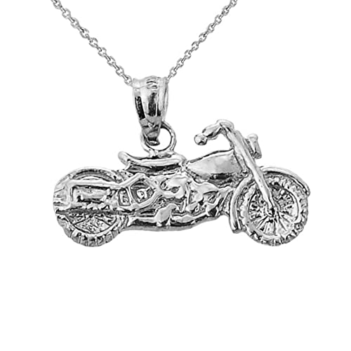 Fine 10k Yellow Gold Motorcycle Charm Pendant Necklace