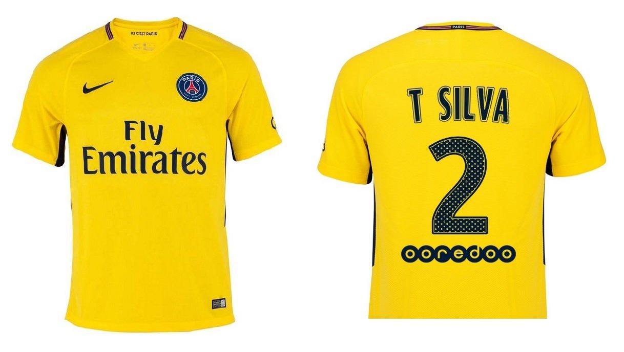 Trikot Kinder Paris Saint-Germain 2017-2018 Away - Thiago Silva 2
