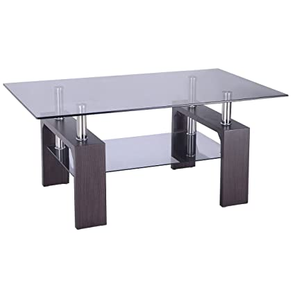 Amazoncom Tangkula Glass Coffee Table Modern Simple Style