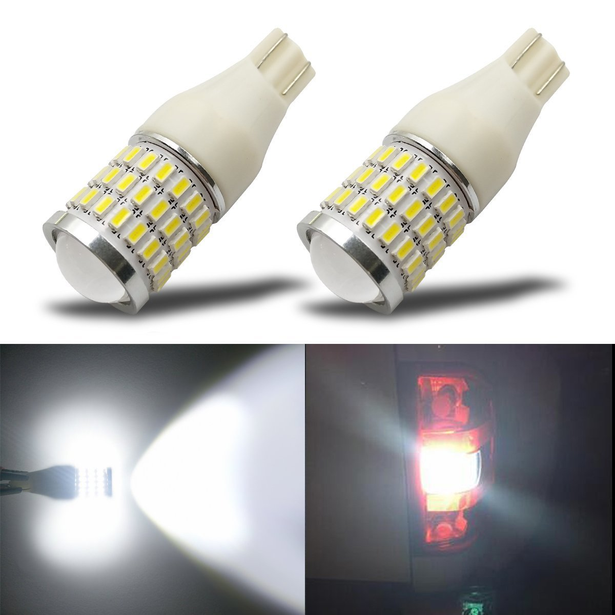 iBrightstar Newest 9-30V Super Bright Low Power T15 912 W16W 921 LED Bulbs with Projector replacement for Back Up Reverse Lights, Xenon White
