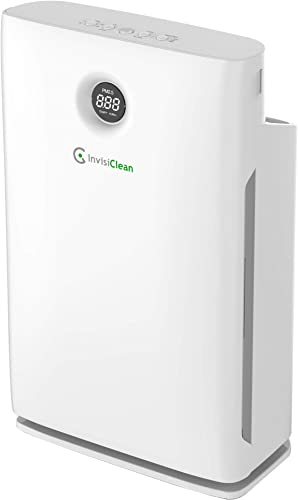 InvisiClean Claro Air Purifier – 4 in 1 True HEPA, Ionizer, Carbon UV-C Sanitizer – Air Purifier for Allergies Pets, Home, Large Rooms, Smokers, Dust, Mold, Allergens, Odor Elimination – IC-4524