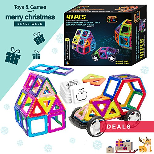 Magnetic Building Blocks Toy for Kids, 41 Pieces Construction Tiles Set, 3D Magnets Game with Wheels