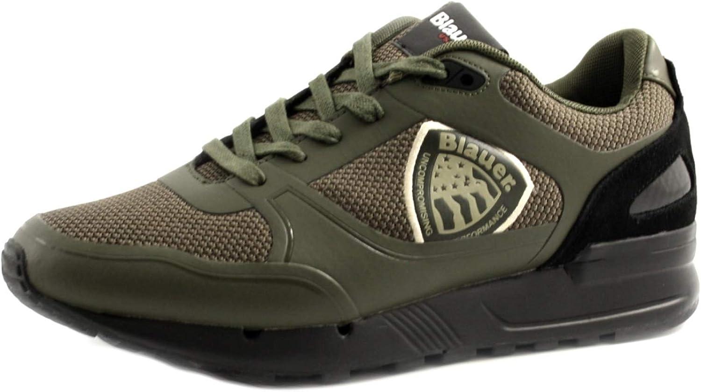 Blauer - Zapatillas Deportivas para Hombre, Modelo Tyler de Piel y Tejido Verde Militar. Base de Goma Antideslizante con Elevador.: Amazon.es: Zapatos y complementos