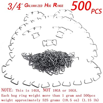 """500pcs 3/4\"""" Galvanized Professional Upholstery Hog Rings Kit - for Bungee/Shock Cords/Animal Pet Cages/Bagging/Traps/Sausage Casing/Meat Bags/Fencing/Railing [5Bkhe2007684]"""