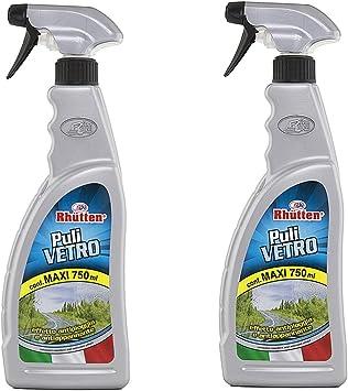 Rhutten 2 x Detergente Vetri Auto Pulivetro Antipioggia