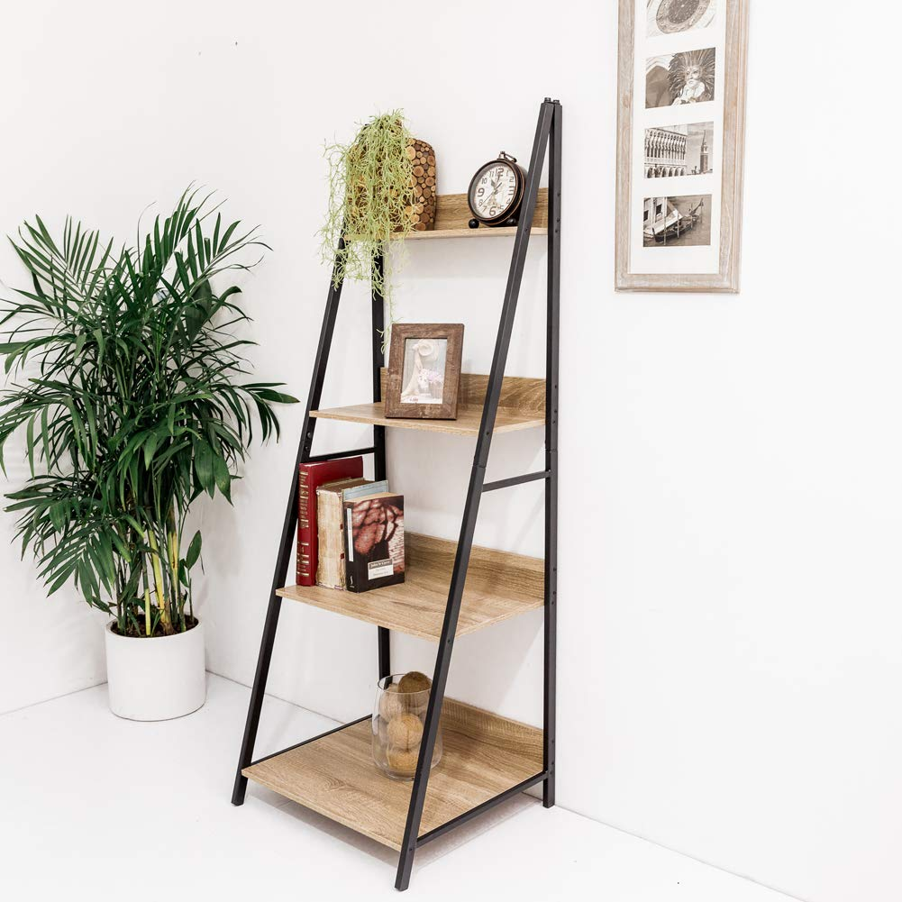 C-Hopetree 4 Tier Ladder Shelf Bookcase Bookshelf Plant Display Stand Storage Shelves, Industrial Accent Home Office Furniture, Black Metal Frame