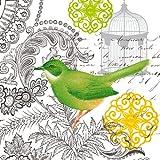 Paperproducts Design 1251177 20-Pack Beverage Cocktail Napkin, 5 by 5-Inch, Cabris Vintage Bird