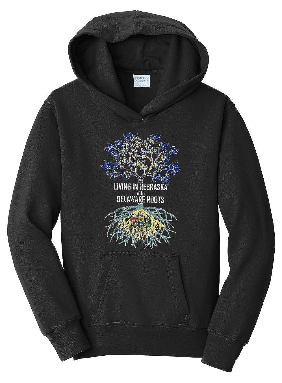 Tenacitee Girls Living in Nebraska with Delaware Roots Hooded Sweatshirt