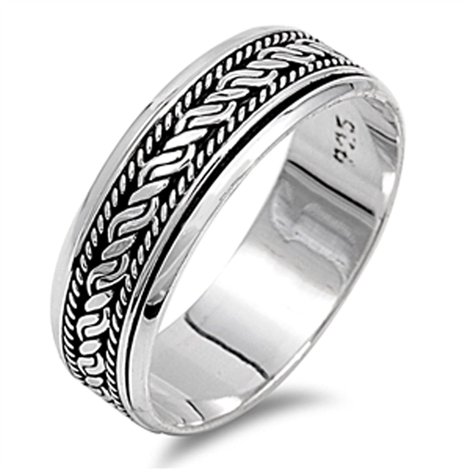 Amazon Sterling Silver Women s Bali Rope Spinner Ring Sizes