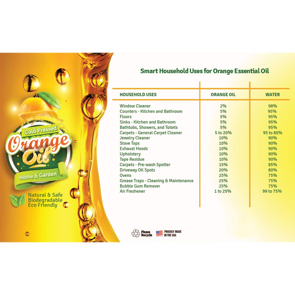 Pure Cold Pressed ORANGE OIL Concentrate - 32 oz (D-Limonene) by EcoClean Solutions Inc (Image #7)