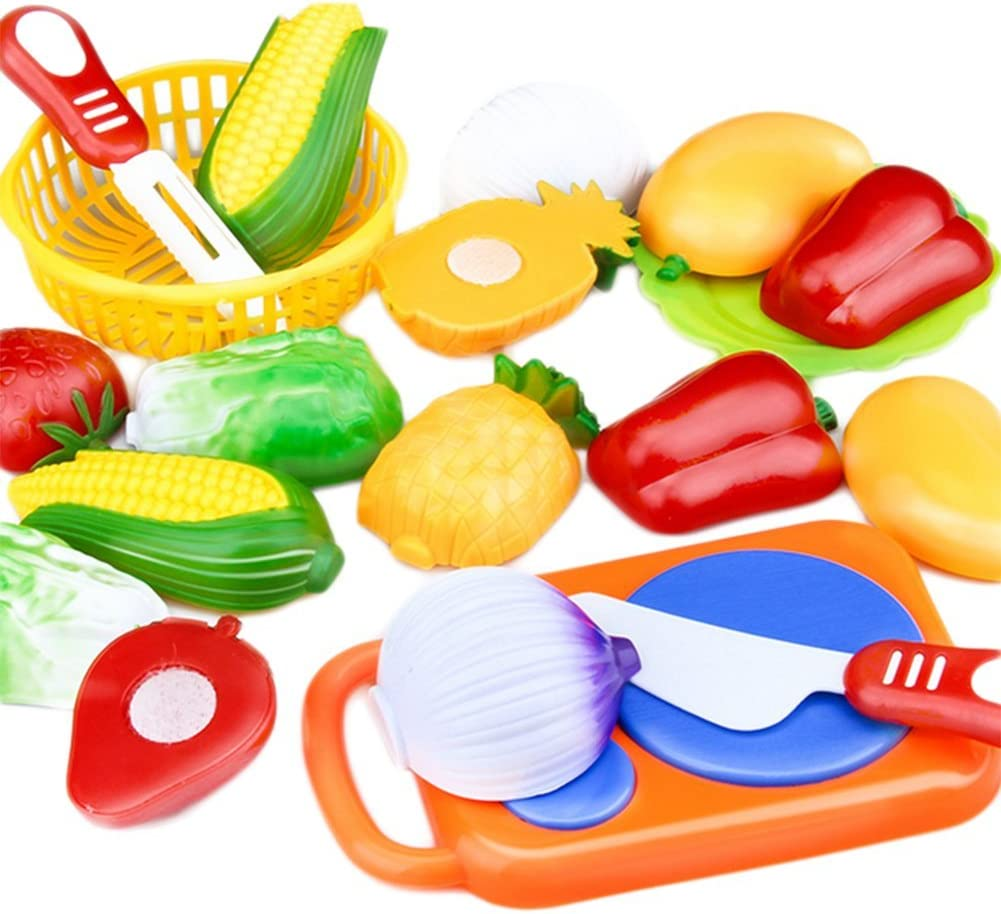Leisial™ 12pcs Juguetes de Cocina Cortar Frutas Verduras Juego de Plástico Juguetes Eeducativos Alimentos de Corte Juguete del para Niños Bebé