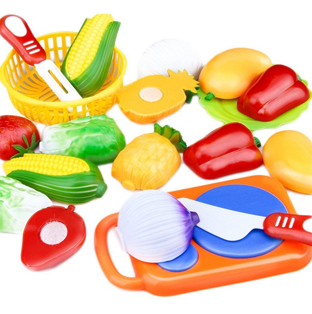 Westeng Juguetes Cortar Frutas y vegetales Juego de Plástico para Niños Juguetes Eeducativos Set de Alimentos de Corte