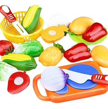 Leisial™ 12 Stücke/Set Kinder Rollenspiele Küchen Kinder Schneiden Gemüse  Frucht Spielzeug Kunststoff Küche