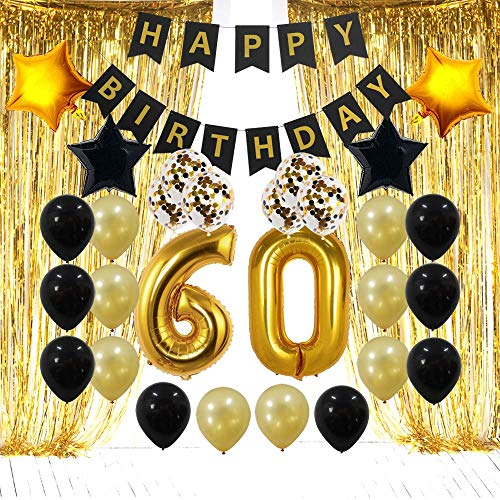 60th Birthday Decorations Gifts for Men & Women- Create Unique Events with Gold Foil Fringe Curtains, Happy Birthday Banner, 60 Number and Confetti Balloons