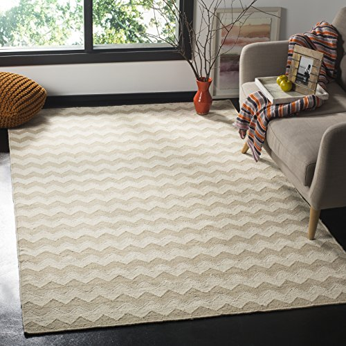 (Safavieh Dhurries Collection DHU644A Hand Woven Beige and Ivory Premium Wool Area Rug (8' x 10'))