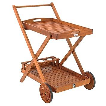 Remarquable Desserte à roulettes en bois d'Acacia - chariot de service à 2 YM-24