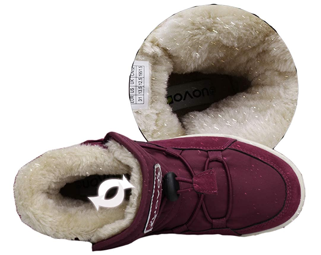 Little Kid//Big Kid iDuoDuo Little Big Boys Girls Light Weight Insulated Plush Toggle Winter Rubber Boots