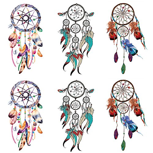 Yesallwas Dreamcatcher Tattoo Temporary for women,Girls,Teens,kids boys (6 Sheets), Waterproof long lasting Fake Tattoos Stickers for Arms Shoulders Chest & Back- Biker Tattoos 15x21cm/5.9x8.26inches